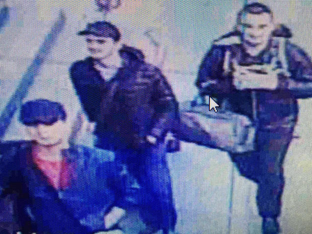 Three men believed to be the suicide bombers who attacked Istanbul's Ataturk Airport are seen arriving at the airport in Turkey