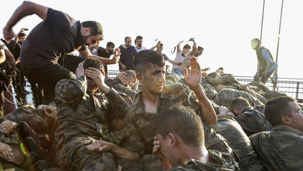 Soldiers involved in a coup attempt surrender on Bosphorus bridge on July 16, 2016, in Istanbul, Turkey.