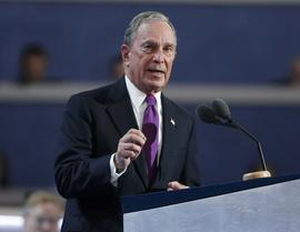 Former New York Mayor Michael Bloomberg speaks at the Democratic National Convention in Philadelphia, Pennsylvania, July 27, 2016.