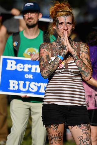 Emotional Bernie Sanders fans
