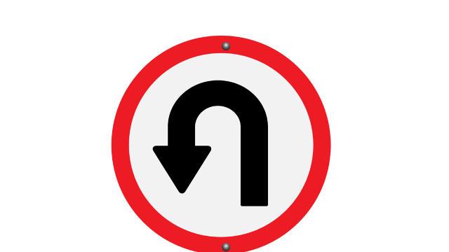U-turn u turn sign