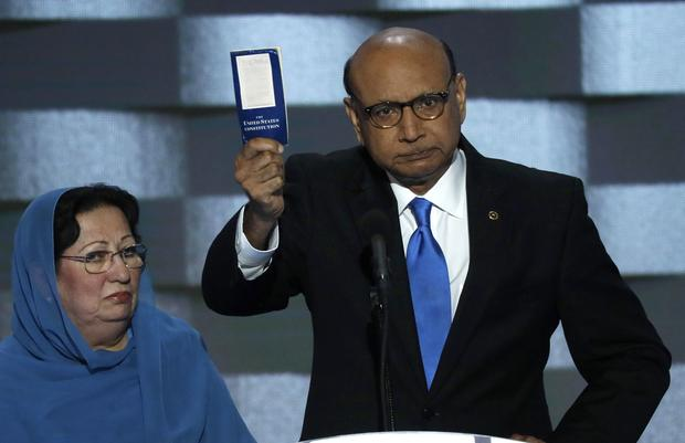 Khizr Khan, whose son, U.S. Army Capt. Humayun Khan, was one of 14 American Muslims who died serving in the U.S. Army in the 10 years after the 9/11 attacks, offers to loan his copy of the Constitution to Republican presidential nominee Donald Trump, as h