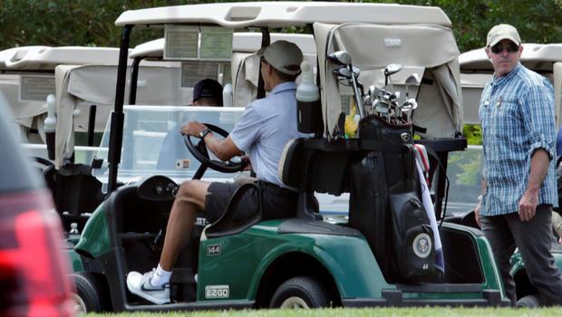 President Obama plays 300th round of golf as president - CBS News on