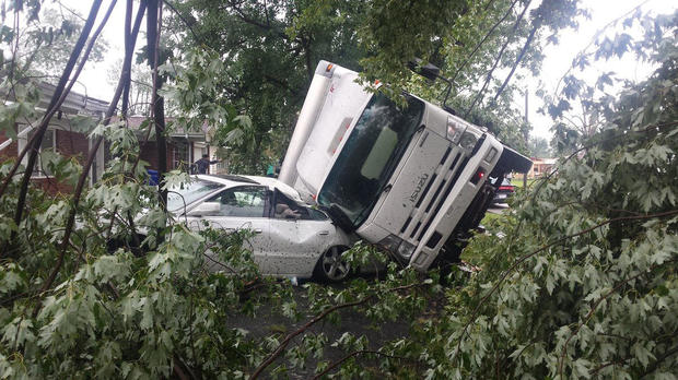 A truck was slammed against a car during severe weather in Kokomo, Indiana, on Aug. 24, 2016.
