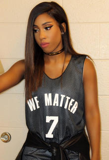 Sevyn Streeter is seen at an arena for an NBA basketball game between the Philadelphia 76ers and Oklahoma City Thunder in Philadelphia on Oct. 26, 2016, in this photo provided by Atlantic Records.