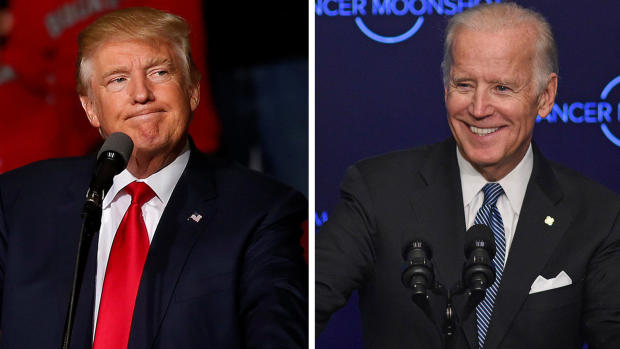 Then-GOP presidential nominee Donald Trump and Vice President Joe Biden are seen in this photo combination from 2016.