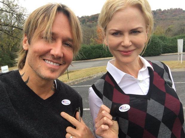 Celebrity voting selfies