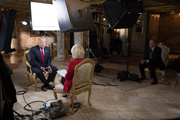 Production shots from Trump's interview with 60 Minutes