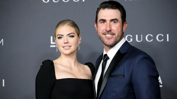 Model Kate Upton and Major League Baseball pitcher Justin Verlander pose at the Los Angeles County Museum of Art Art+Film Gala in Los Angeles Oct. 29, 2016.