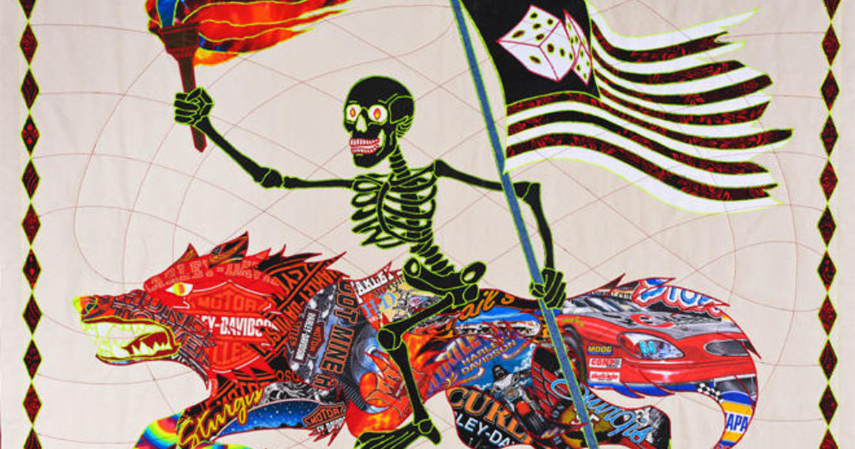 A collision of quilting and rock music