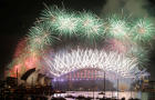 Fireworks explode over the Sydney Opera House and Harbour Bridge as Australia ushers in the new year in Sydney, Jan. 1, 2017.