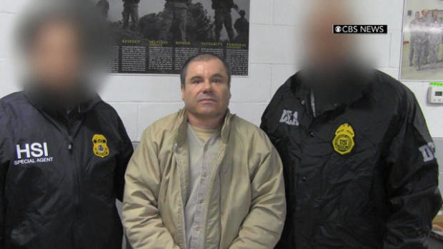 "Joaquin ""El Chapo"" Guzman is led by agents from Homeland Security Investigations and the Drug Enforcement Administration after arriving on New York's Long Island on Jan. 19, 2017."