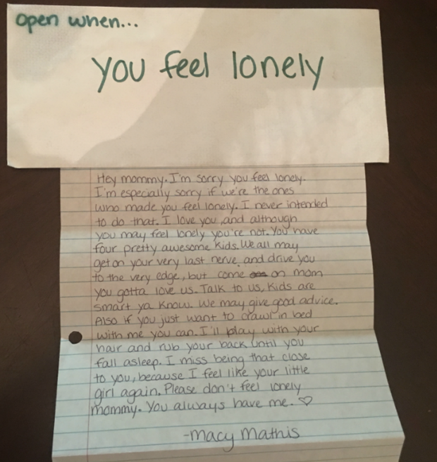 Open When You Miss Me Late Daughter Leaves Behind Letters To Mom