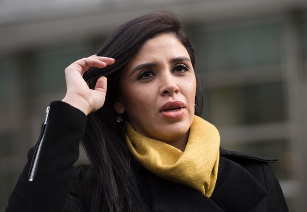 "The wife of Joaquin ""El Chapo"" Guzman, Emma Coronel Aispuro, exits the federal courthouse in Brooklyn after a hearing in Guzman's case on Feb. 3, 2017, in New York."