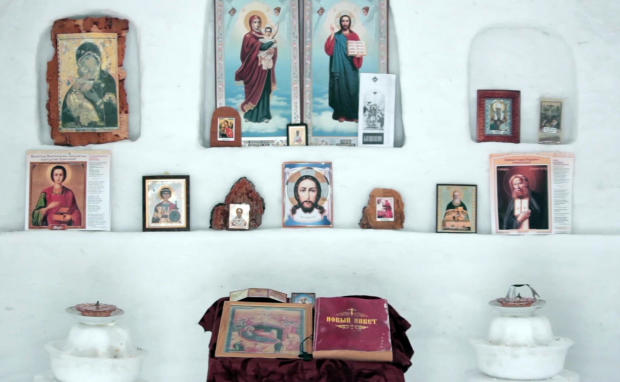 In this image made from video, the inside of a chapel made of snow is seen in Sosnovka, Russia, Feb. 8, 2017.