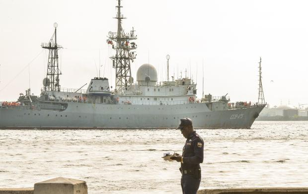 Russian Vishnya (also known as Meridian) class warship CCB-175 Viktor Leonov, arrives at Havana's harbor on Feb. 27, 2014. The Vishnya class ships are used for gathering intelligence.