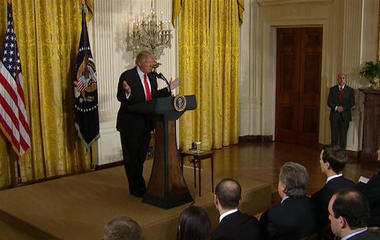 "Trump talks ""leaks to the media"" in press conference"