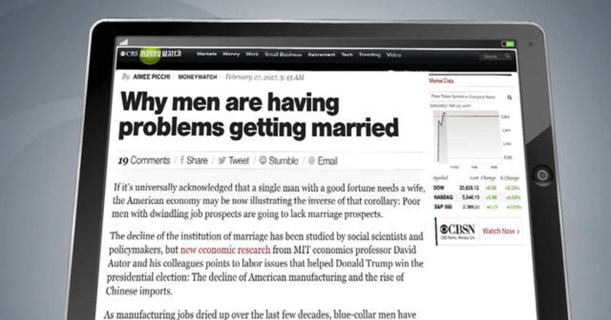 why men are having problems getting married cbs news