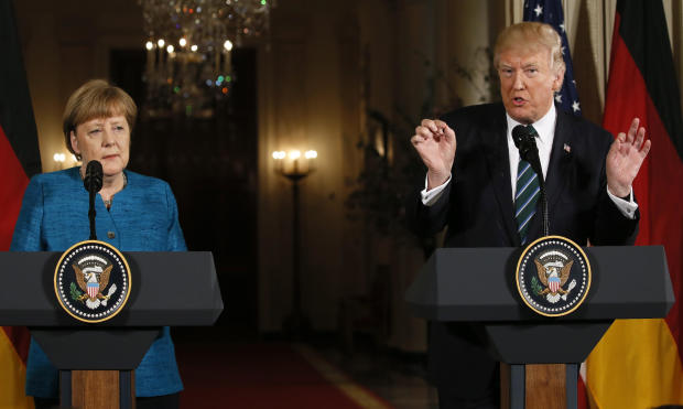 President Trump speaks as he holds a joint news conference with German Chancellor Angela Merkel in the East Room of the White House in Washington March 17, 2017.