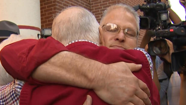 David Temple and his dad after prison release