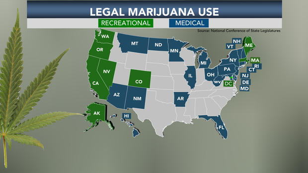 Marijuana Legalization Support At Alltime High CBS News - Us map of legal weed 2017