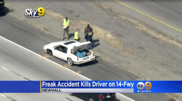 Driver killed instantly in freak accident on California freeway