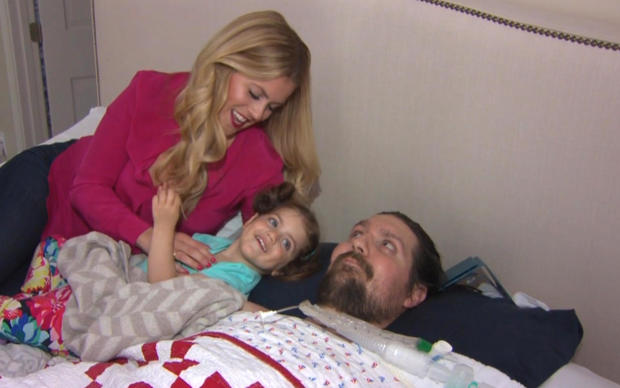 Julie and Pete Frates are seen with their 2-year-old daughter in a segment broadcast by CBS Boston on May 23, 2017.