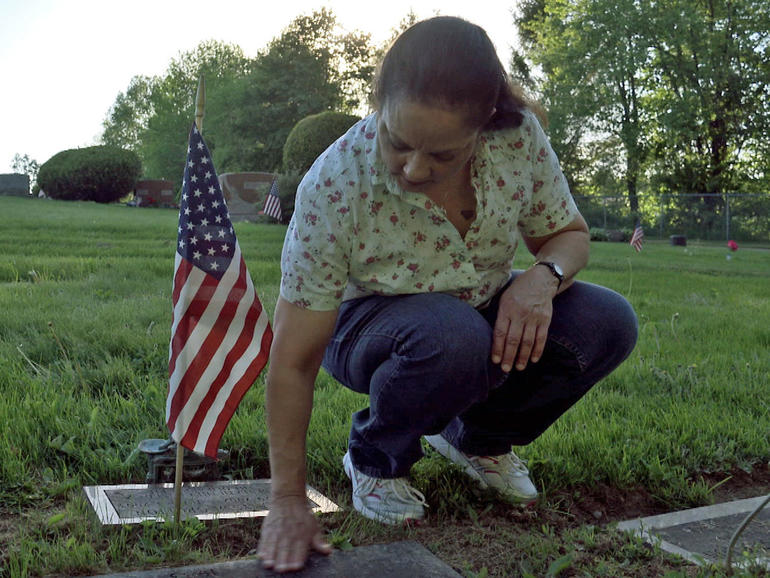 Rosalyn Grotton at her father's grave