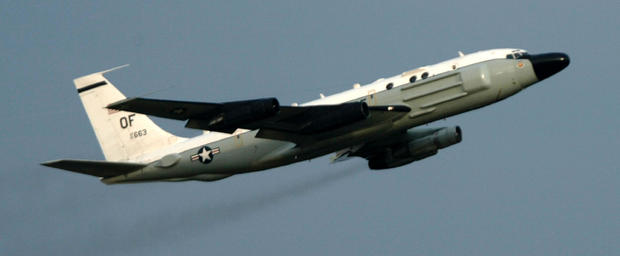 A U.S. RC-135 electronic intelligence collection aircraft takes off on a mission from the U.S. Air Force base in Kadena on the Japanese island of Okinawa Feb. 27, 2003.