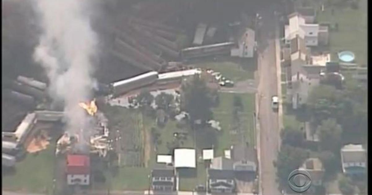 Freight train derailment causes massive explosion