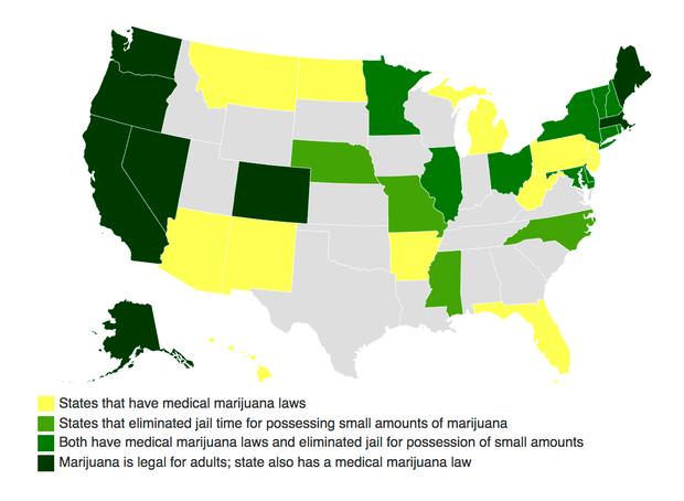 Is Cannabis Too Lucrative To Be Illegal CBS News - Us marijuana map 2015