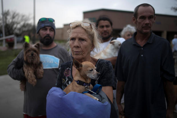 Residents are evacuated to Austin after losing their home to Hurricane Harvey in Rockport, Texas
