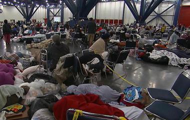 Houston flooding victims sleeping on convention center's floor