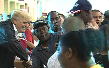 At Houston shelter, Trump says Harvey relief is on the way