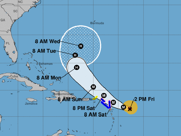 A map from the National Hurricane Center shows Hurricane Jose's projected path as of 2 p.m. ET on Sept. 8, 2017.