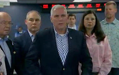Vice President Mike Pence reacts to Hurricane Irma