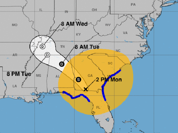 A map shows the projected path for the remnants of Hurricane Irma as of 2 p.m. ET on Sept. 11, 2017. The blue lines represent coastal areas under tropical storm warnings. Areas potentially affected by sustained tropical-storm-force winds are represented in orange.