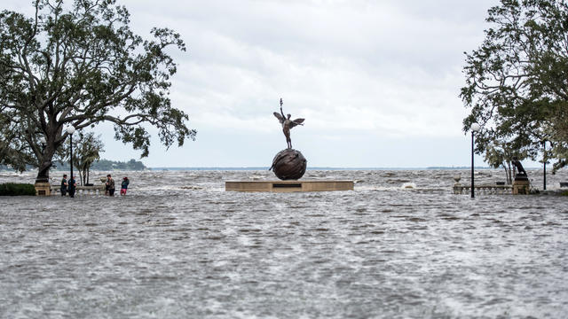 Storm surge floodwaters from Hurricane Irma inundate Memorial Park along the St. Johns River Sept. 11, 2017, in Jacksonville, Florida. Flooding in downtown Jacksonville along the river topped a record set during Hurricane Dora in 1965.