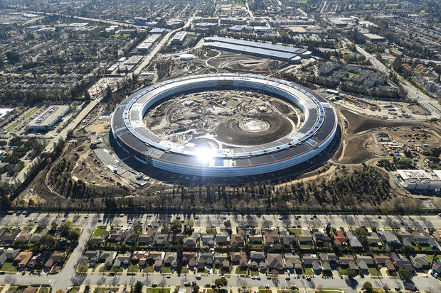 The Apple Campus 2 is seen underneath construction in Cupertino