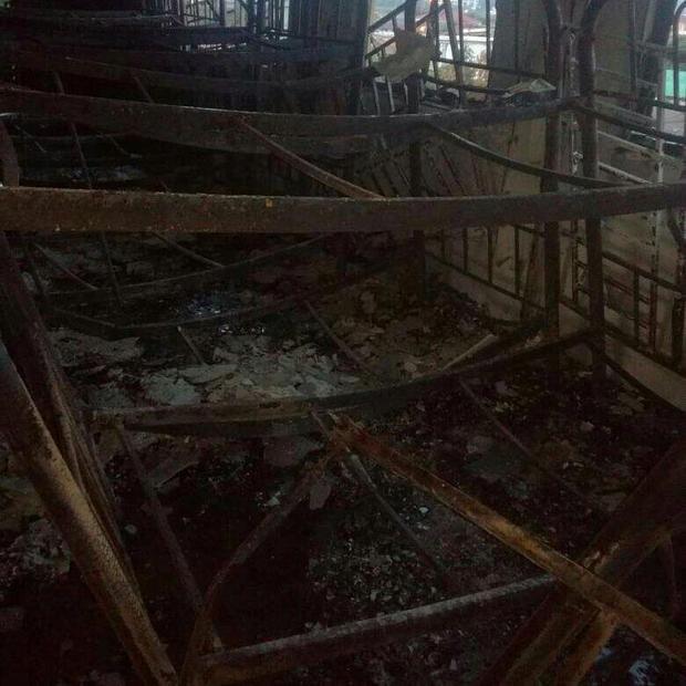 The charred interior of the religious school Darul Quran Ittifaqiyah after a fire broke out in Kuala Lumpur