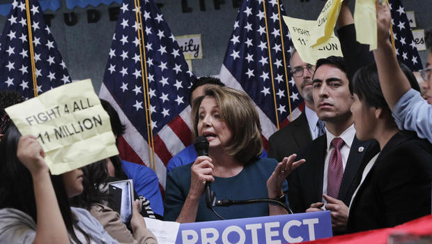 Nancy Pelosi leaves press conference after being shouted down by angry protesters