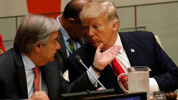 U.S. President Donald Trump and UN Secretary General Antonio Guterres participate in a session on reforming the United Nations at U.N. Headquarters in New York