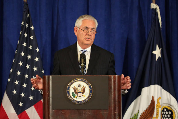 U.S. Secretary of State Rex Tillerson holds a press briefing during the United Nations 72nd General Assembly in New York.