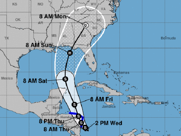 A map from the National Hurricane Center shows the probable path of a tropical depression that could be the next Atlantic tropical storm. The S stands for tropical storm. The H stands for hurricane. The blue lines show areas under tropical storm warnings.