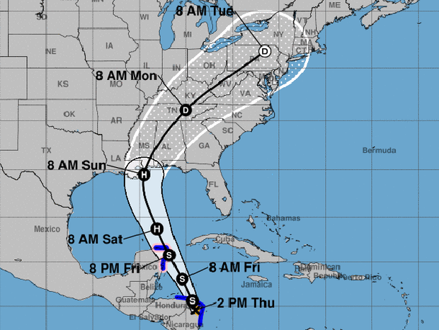 A map from the National Hurricane Center shows the probable path of Tropical Storm Nate as of 2 p.m. ET on Oct. 5, 2017. D stands for tropical depression. S stands for tropical storm. H stands for hurricane. The blue lines represent areas under tropical s