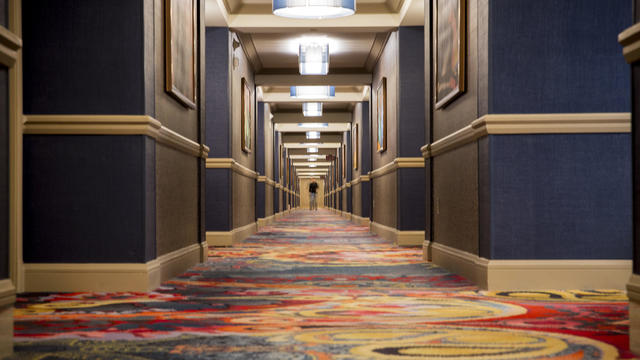 A hallway inside the Mandalay Bay Resort and Casino on the Las Vegas Strip in Las Vegas, Nevada, is seen in this photo obtained by CBS News on Oct. 3, 2017.