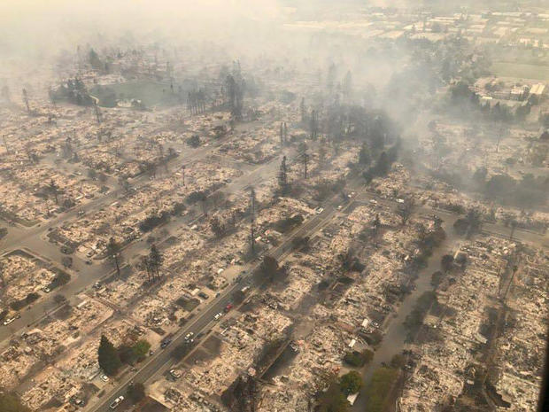 Aerial of Northern California wildfire damage - burned homes