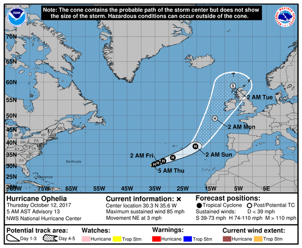 Hurricane Ophelia expected path