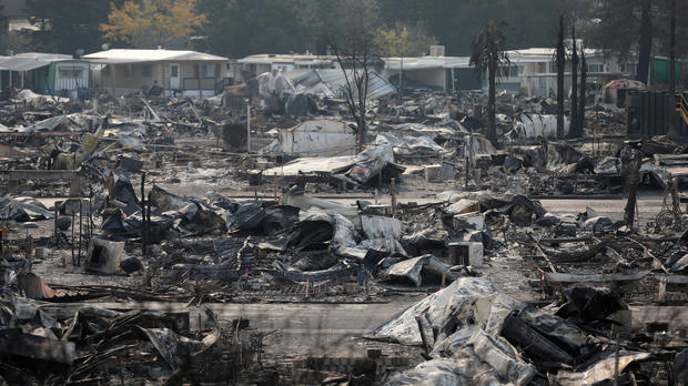The remains of a mobile home park that was the scene of fatalities when it was destroyed in a wildfire are seen in Santa Rosa, California, Oct. 15, 2017.