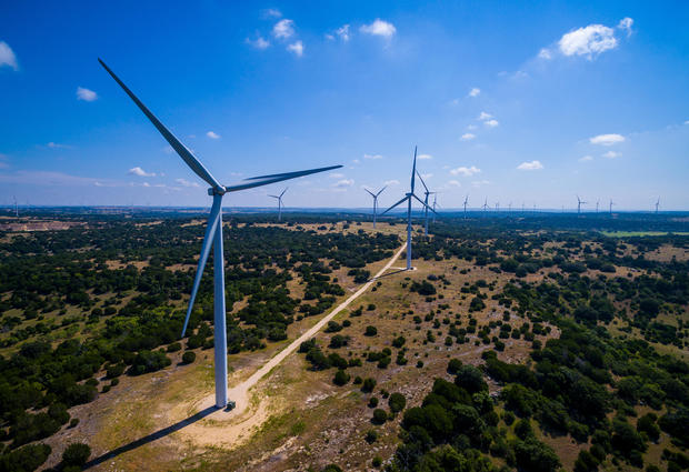 Amazing Aerial Wind Turbine Farm Goldthwaite Texas